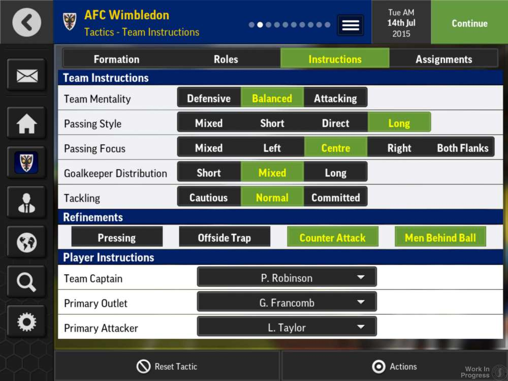 Football Manager Mobile Team Instructions