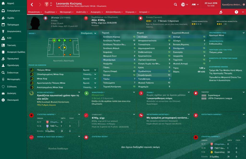 Λεονάρντο Κούτρης Olympiakos Football Manager 2017