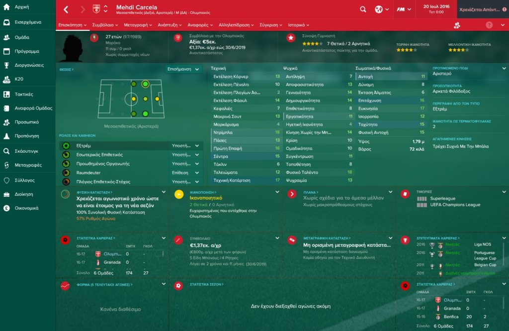 Carcela Olympiakos Football Manager 2017
