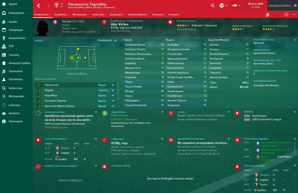 Tachtsidis Olympiakos Football Manager 2017