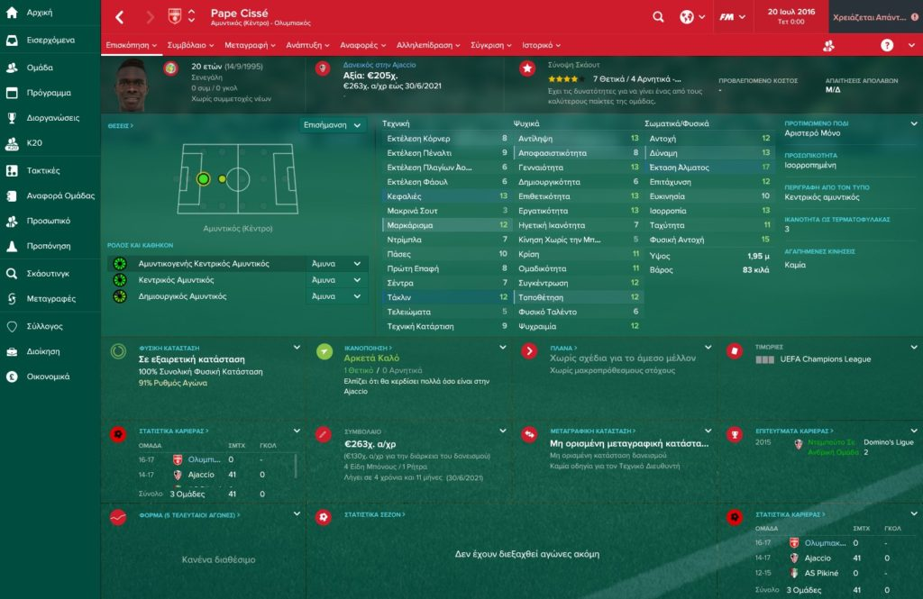 Cisse Olympiakos Football Manager 2017