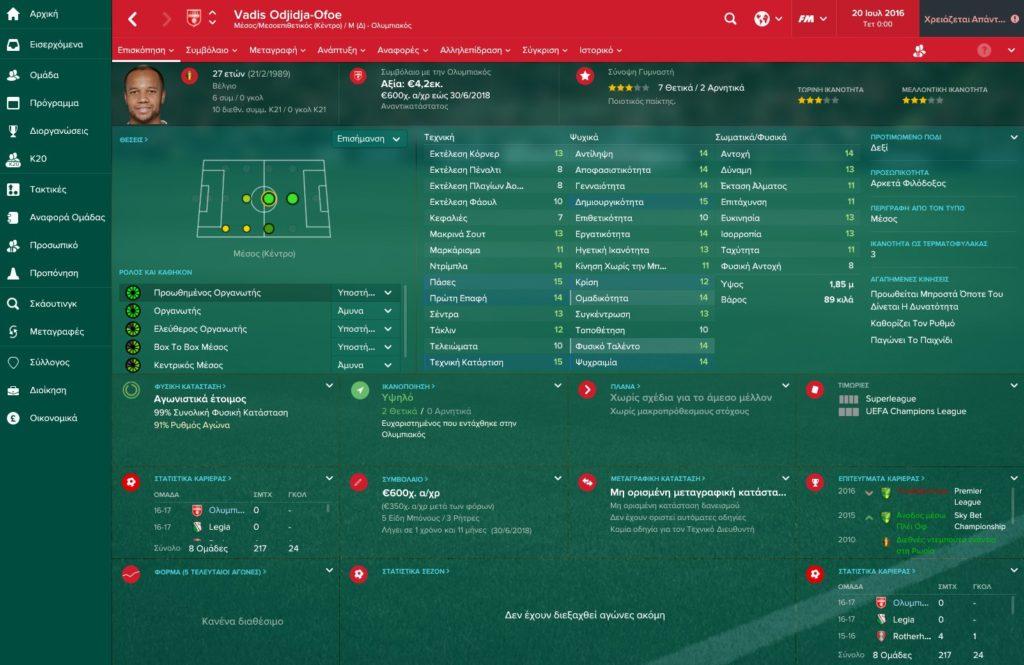 Ofoe Olympiakos Football Manager