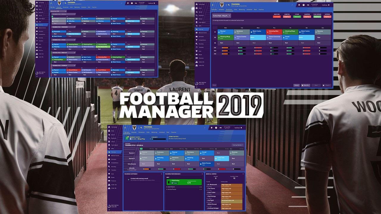 Football Manager 2019: Οι αλλαγές στο τομέα της προπόνησης
