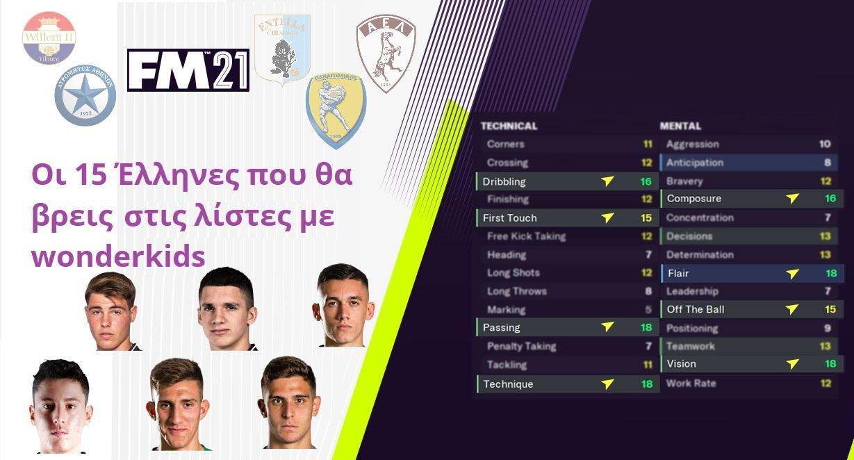 Οι 15 Έλληνες U-20 στις λίστες με τα wonderkids του FM 2021!